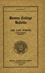 Boston College Bulletin, Law, 1930 by Boston College