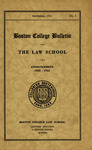 Boston College Bulletin, Law, 1933 by Boston College