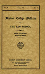 Boston College Bulletin, Law, 1938 by Boston College