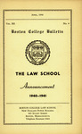 Boston College Bulletin, Law, 1940 by Boston College