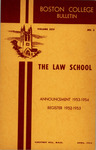 Boston College Bulletin, Law, 1953 by Boston College